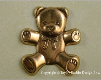 Teddy Bear Stamping in Antiqued Polished Brass - Large (item 4621 AG) - 6 Pieces