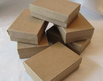 10 Kraft Jewelry Gift Boxes, Cotton Filled 3x2x1