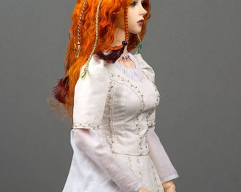 """Gorgeous ginger red angora goat wig in boho style  for SD, supergem or other doll with 8-9"""" head"""