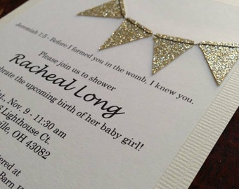 Gold glitter bunting flags stitched invitation for bridal or baby shower perfect for communion or baptism