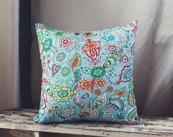 Square Cushion Cover/pillow 45cm Freshly Picked Flowers in Turquoise with a Heather Bailey Jellybean Backing