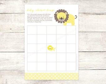 baby shower bingo game card printable DIY lion yellow grey brown cute baby digital shower games - INSTANT DOWNLOAD