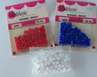 Vintage Beads-Rondell-Facet-Old Stock-3x-Patriotic Mix
