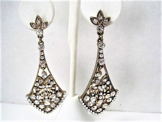 Chandelier Earrings, Glitzy Rhinestones, Long Pierced Dangles, Gold Tone Metal,  Wedding Holiday Evening