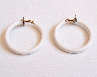 Napier White Tube Hoops Spring Clip On Earrings Gold Tone Vintage Aged Large Round Open Ring Dangles