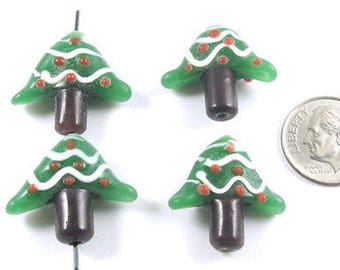 Christmas Lampwork Glass Beads-HOLIDAY TREE 20mm (4 Pieces)