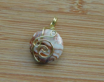 Crazy Lace Agate 20mm Coin bead Wire Wrapped in Bare Yellow Brass Wire Wrapped Jewelry Handmade