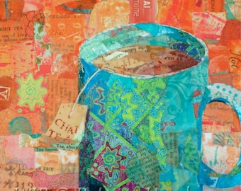 """CHAI TEA Original Paper Collage Painting 6 X 6"""" on Gallery Wrapped Canvas"""