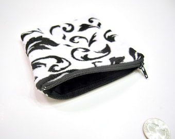 Black and White Fuzzy Scroll Wallet or Zippered Pouch