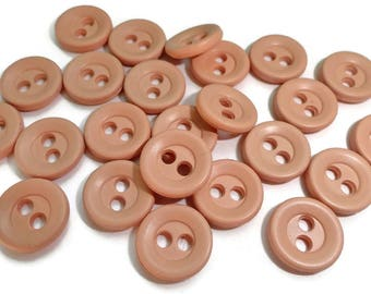 25 Peach Vintage Buttons - 1/2 inch 11mm for Baby Doll Clothes Sewing Knitting Jewelry Beads