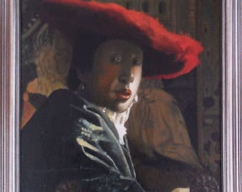Girl with a Red Hat by Johannes Vermeer - reproduction oil painting