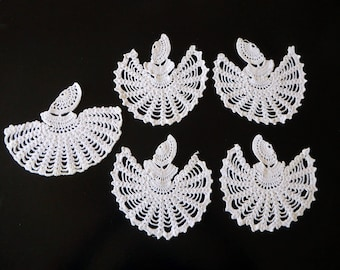 Five vintage hand crocheted Victorian crinoline ladies