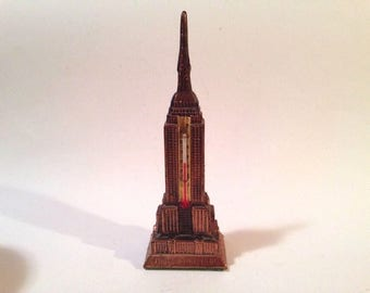 "Metal Souvenir Empire State Building NY Thermometer Copper Tone 6.5"" tall"