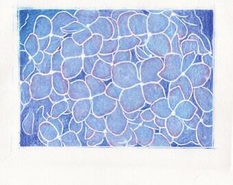 Hydrangea Flower Linocut Print