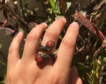 Carnelian and Goldstone adjustable ring