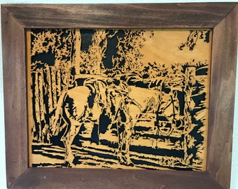 """Beautiful hand scrolled """"Ready to Ride"""" Baltic birch wooden 12 x 14 framed picture."""