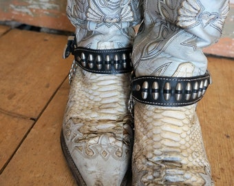 Vintage Boot Straps,  80s rock silver bullet leather biker boot straps with hanging chain