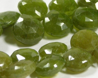 Green GARNET gorgeous faceted briolettes 4 pieces aka grossular garnet