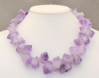 Natural amethyst crystal necklace with handmade clasp