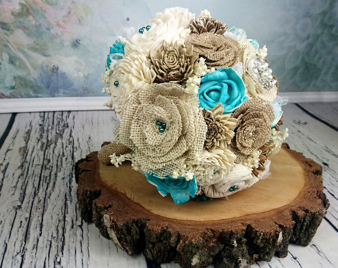 Medium burlap flowers ivory brown turquoise rustic beach summer southwestern wedding BOUQUET sola Flowers lace brooch