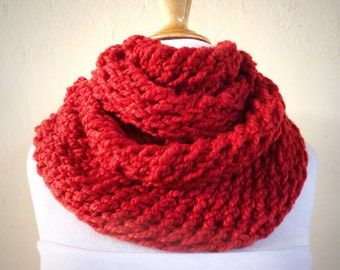 ITALIAN RED (Or Choose Color) infinity scarf / cowl -- wool blend, chunky, fashion accessories, handmade