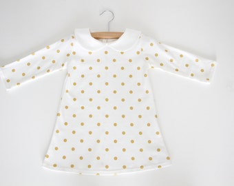 Gold Polka Dot Dress, Girls 1st Birthday, Organic Dress, Long Sleeve Dress, Peter Pan Collar Dress, Baby Dress, Toddler Dress, Kids Dress