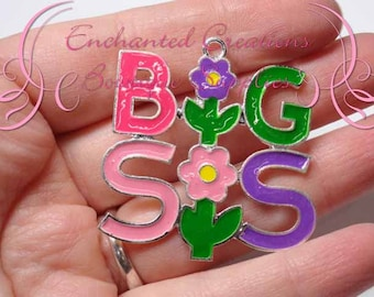 "2"" Big Sis Charm, Chunky Pendant, Keychain, Bookmark, Zipper Pull, Chunky Jewelry, Purse or Planner Charm, See Lil Sis Charm Too, Sisters"