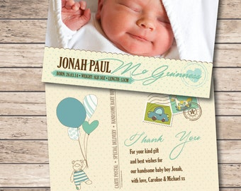 Birth Announcement - Personalised Baby Thank You Card - Printable File - Digital Download - New Baby - Baby Stats