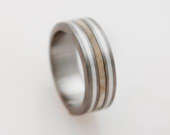 Mens wood Wedding Band with Titanium Ring silver inlay