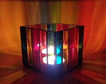 Rainbow tealight holder Light box Stained glass art Waterglass candle holder Mosaic nightlight Housewarming gift Votive lantern Illumination
