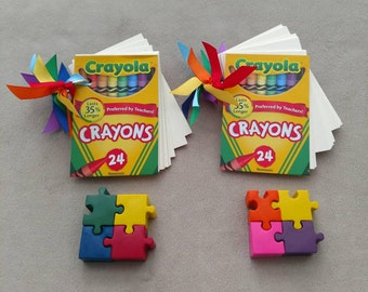PUZZLE CRAYONS with Coloring Book - Autism Awareness Puzzle Crayons
