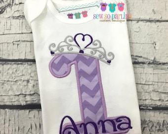 Baby girl Princess Birthday Shirt - 1st birthday girls outfit - 1st Birthday Princess Shirt - Princess Birthday Outfit