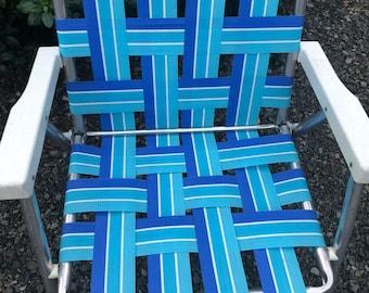 Vintage Mid Century Folding Webbed Aluminum Lawn Chair