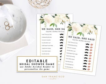 EDITABLE He Said She Said Game | Bridal Shower Game, Bachelorette Party Game | Brynne Collection | Printable, Instant Download PDF file, diy