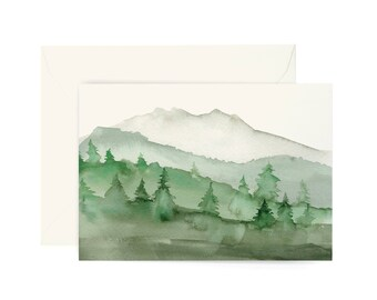 Illustrated Green Mountain Scene Card - Everyday, Just Because, Blank Greeting Card