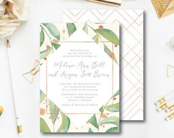 Rose Leaf Wedding Invitations