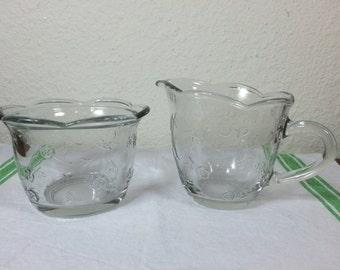 SALE!!  Glass Cream & Sugar  - Anchor Hocking Savannah Glass Cream and Sugar Set