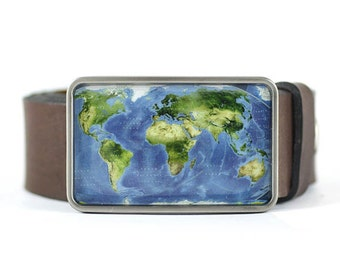 World Map Belt Buckle for men, Geographic World Map Belt Buckle, Men's belt bucke, gift for him