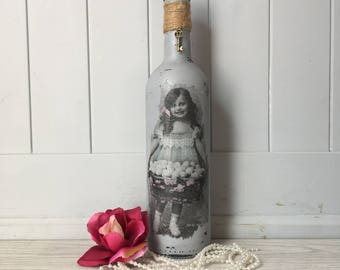 decoupage bottle/ vintage/ grey painted/ wine bottles / weddings / wedding centre piece / candle holders / home decor/ grey