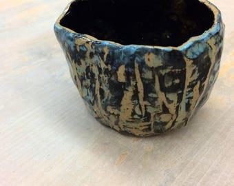Blue Textured Pinch Pot
