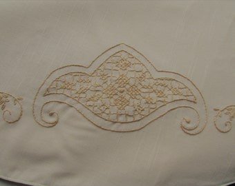 Vintage, Tablecloth, Hand Embroidery, Round, Mother's Day, Birthday, Easter