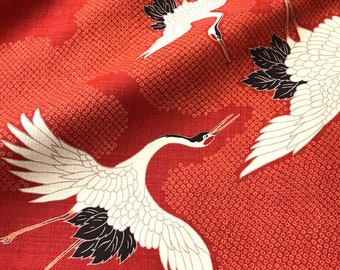 Japanese fabric, traditional crane pattern, background, red, cotton and linen 110 x 50 (270 c)