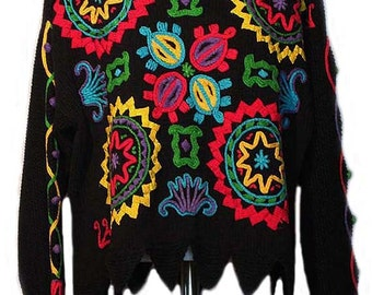 Vintage Handmade Sweater with Vibrant Multi Color Embroidery - Fits Size XLarge