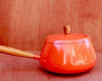 Mid Century Modern Orange Fondue or Sauce Pan with Wood Handle Great Condition