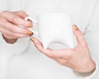 Ceramic mug - white porcelain mug, contemporary ceramic cup handmade coffee cup or tea cup by Endesign