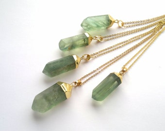 Gold Dipped Green Fluorite Necklace Fluorite Pendant Fluorite Jewelry Green Stone Green Crystal Point Green Mineral Jewelry Natural Stone
