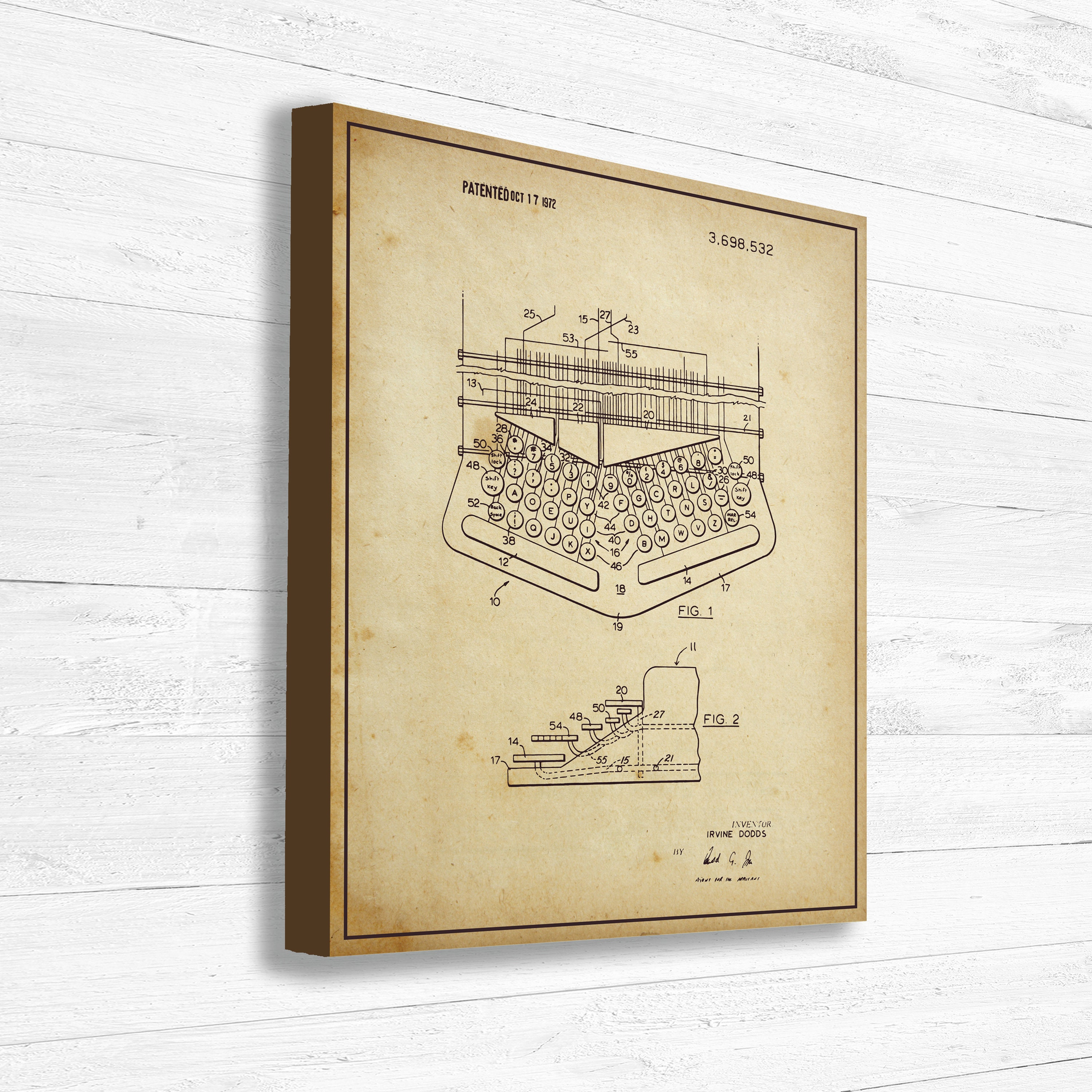 Typewriter, Patent, Office Decor, Old Patent, Invention, Vintage ...