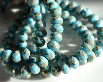 Robins Egg Blue and Gold Splatter 8x6mm Faceted Rondelle Beads  25