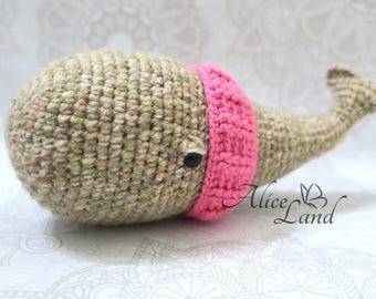 Handmade whale, Crochet whale, Stuffed Animal, Plush Animal, Amigurumi whale, Crochet whale toy, Plush whale,