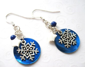 Blue and Silver Snowflake Earrings, Antique Silver Snowflake Jewelry, Christmas Holiday Earrings, Winter Jewelry, Gift for Her